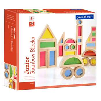 Jr Rainbow Blocks 40 Piece Set By Guidecraft Usa