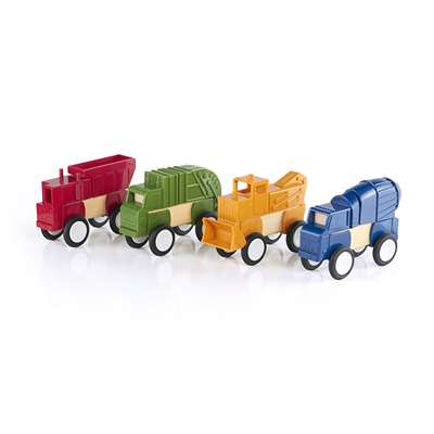 Block Mates Construction Vehicles Set Of 4 By Guidecraft Usa