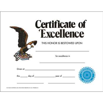 Certificate Of Excellence 30/Set By Hayes School Publishing