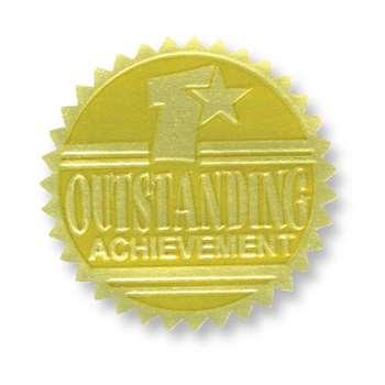 Gold Foil Embossed Seals Outstanding Achievement, H-VA371
