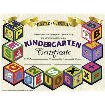 Certificates Kindergarten 30/Pk 8.5 X 11 By Hayes School Publishing