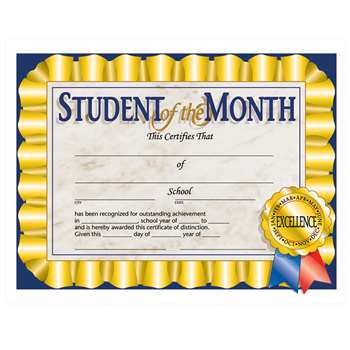 Certificates Student Of The 30/Pk Month 8.5 X 11 By Hayes School Publishing