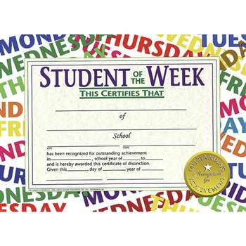 Certificates Student Of The 30/Pk Week 8.5 X 11 By Hayes School Publishing