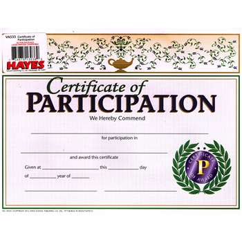 Certificates Of Participation 30/Pk 8.5 X 11 By Hayes School Publishing