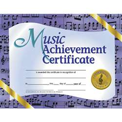 Certificates Music 30/Pk 8.5 X 11 Achievement By Hayes School Publishing