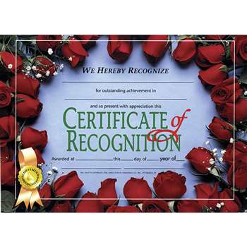 Certificates Of Recognition 30/Pk 8.5 X 11 By Hayes School Publishing