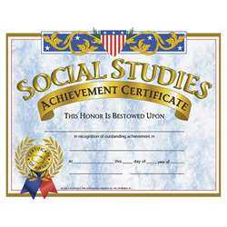 Certificates Social Studies 30/Pk 8.5 X 11 By Hayes School Publishing
