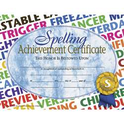 Certificates Spelling 30/Pk 8.5X11 Achievement By Hayes School Publishing