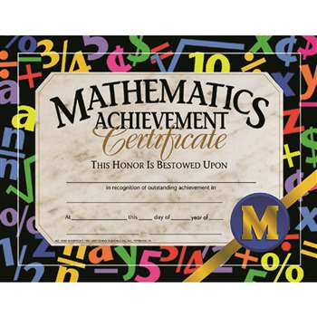 Certificates Mathematics 30/Pk Achievement 8.5 X 11 By Hayes School Publishing