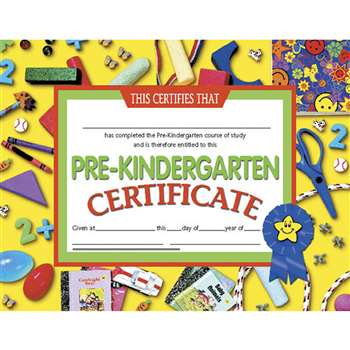 Certificates Pre-Kindergarten 30/Pk 8.5 X 11 Yellow By Hayes School Publishing