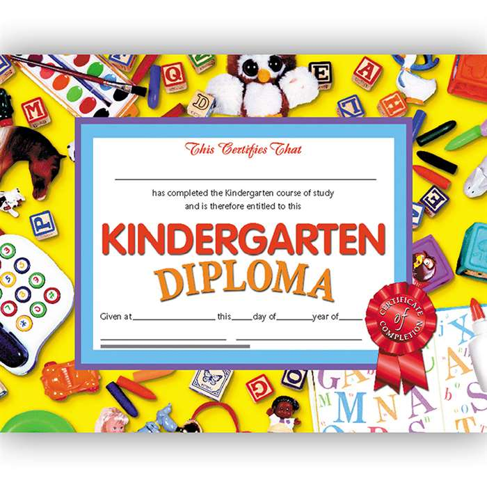 Diplomas Kindergarten 30/Pk 8.5X11 Red Ribbon By Hayes School Publishing