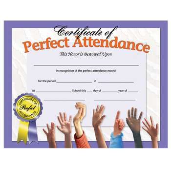 Certificates Perfect Attendance 30 Pk 8.5 X 11 Inkjet Laser By Hayes School Publishing