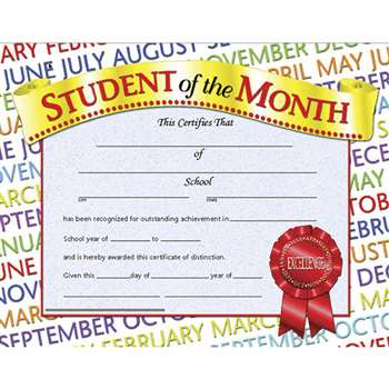 Certificates Student Of The 30/Pk Month 8.5 X 11 Inkjet Laser By Hayes School Publishing