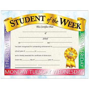 Certificates Student Of The 30/Pk Week 8.5 X 11 Inkjet Laser By Hayes School Publishing