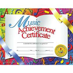 Certificates Music 30/Pk 8.5 X 11 Achievement Inkjet Laser By Hayes School Publishing
