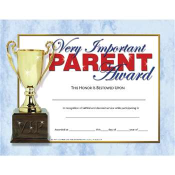 Very Important Parent Award 30-Set Certificates By Hayes School Publishing