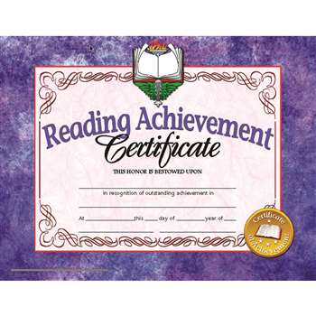 Certificates Reading 30/Pk 8.5 X 11 Achievement Inkjet Laser By Hayes School Publishing