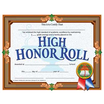 High Honor Roll Achievement 30Pk Certificates By Hayes School Publishing