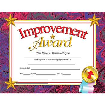 Certificates Improvement 30/Pk Award 8.5 X 11 Inkjet Laser By Hayes School Publishing