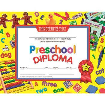 Certificates Preschool Diploma 30Pk By Hayes School Publishing