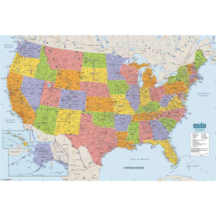 Us & World Maps Laminated Us 38X25 By House Of Doolittle
