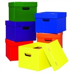 Tote/Stow Boxes One Each Of Green Blue Orange Purple Red And Yellow By Edupress