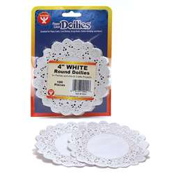 "Doilies 4"" White Round 100/Pkg By Hygloss Products"