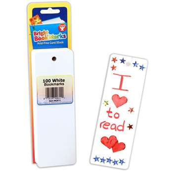 Bookmarks 2 X 6 Ultra White 100 By Hygloss Products