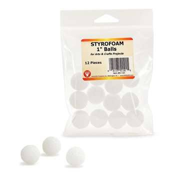 Styrofoam 1In Balls Pack Of 12 By Hygloss Products