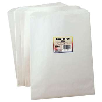 Paper Bags 8.5X11 White 50 Pinch Bottom By Hygloss Products