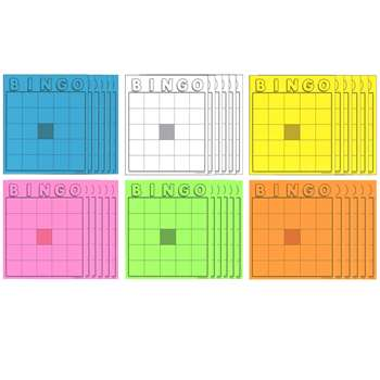 Blank Bingo Cards Assorted Colors, HYG87125