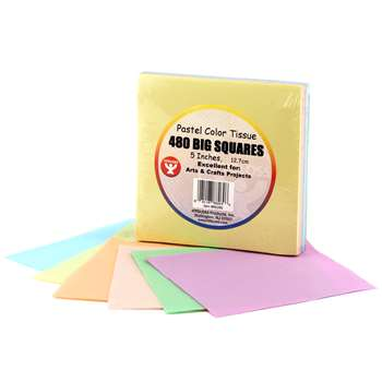 5In Tissue Squares Pastel 480 Pieces By Hygloss Products