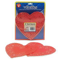 Doilies 6 Red Hearts 100/Pk By Hygloss Products