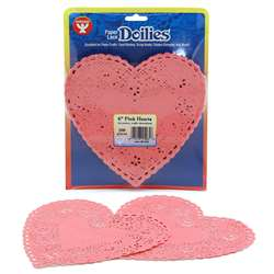 Doilies 6 Pink Hearts By Hygloss Products