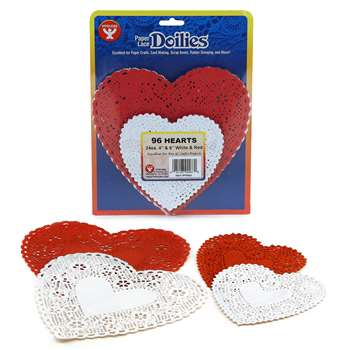 Doilies White & Red Hearts 24 Each 4In 6In By Hygloss Products