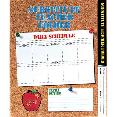 Substitute Folder Elem Corkboard 9 X 11 W/ Pocket By Carson Dellosa