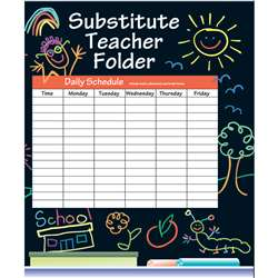 Substitute Folder Elem Kid-Drawn 9 X 11 W/ Pocket By Frank Schaffer Publications