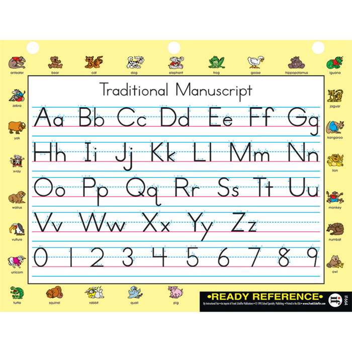 Traditional Manuscript Traditional Cursive Learning Card By Carson Dellosa