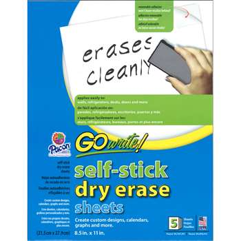 Dry Erase Sheets Self Stick 8 1/2 By Go Write Blazer Technology