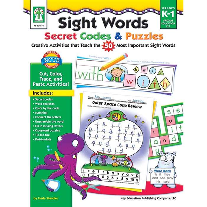 Sight Words Secret Codes & Puzzles Book Age 5+ By Carson Dellosa