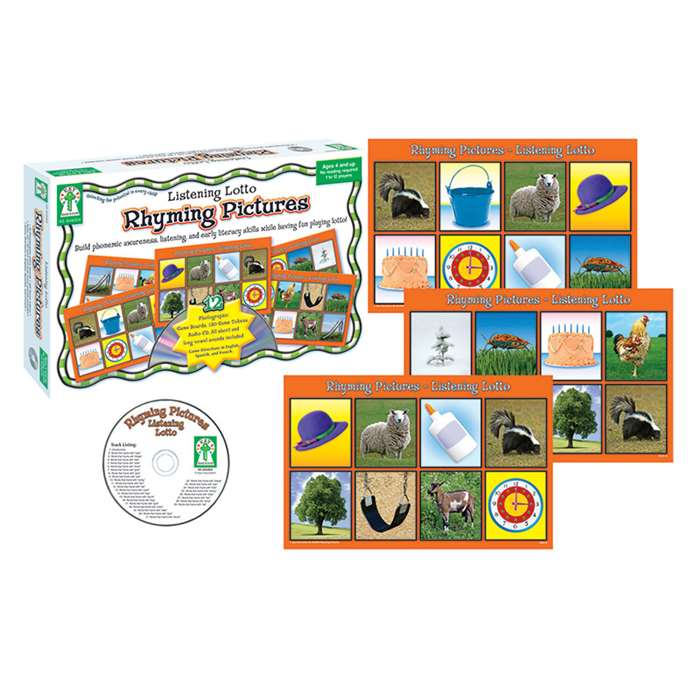 Rhyming Pictures Manipulatives Listening Lotto Age 4 & Up By Carson Dellosa