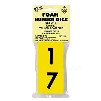 Foam Dice 2 Numeral Set Of 2 By Koplow Games
