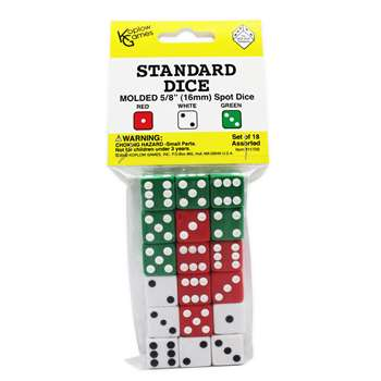 Dot Dice 6 Each Of Red White & Green By Koplow Games