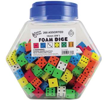 16Mm Foam Dice Tub Of 200 Assorted Color Spot By Koplow Games