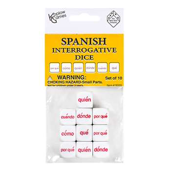 Spanish Interrogative Dice Set 10Pc, KOP18505
