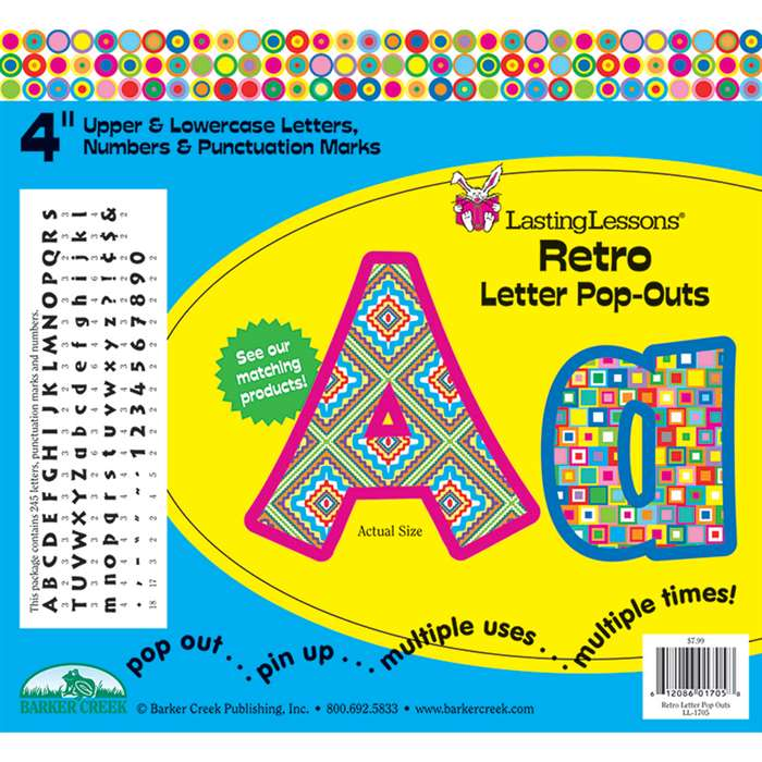 Retro Letter Pop-Outs By Barker Creek Lasting Lessons