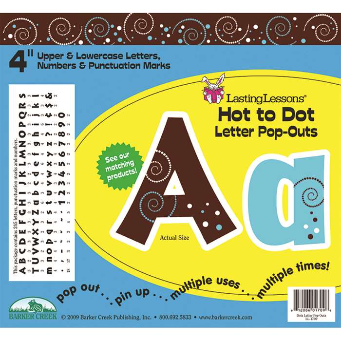 Hot To Dot Letter Pop-Outs By Barker Creek Lasting Lessons