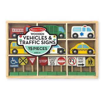 Wooden Vehicles And Traffic Signs By Melissa & Doug