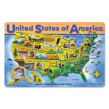 U.S.A. Map Wooden Puzzle 16X12 45 Pieces By Melissa & Doug
