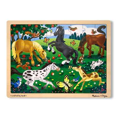 Frolicking Horses Jigsaw Puzzle (Wooden 48 Pieces) By Melissa & Doug